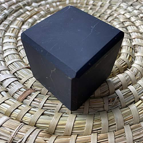 Cubo de Shungite sin pulir de 10 cm, rico en fullerenos, protección contra EMF, piedra auténtica de Rusia, equilibrio de energía en los chakras de meditación - Naturesupplies