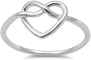 Pretzel Heart Infinity Knot .925 Sterling Silver Ring Band Sizes 3-10
