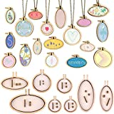 INSANY Small Ring Embroidery Hoops Mini Wooden Cross Stitch Hoop Mini Round Oval Wood Hoops for Frame Craft and Hanging 8Pcs/Set