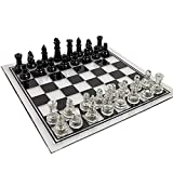 SUUUK Juego De Ajedrez Y Juego De Mesa De Borradores, Piezas De Ajedrez De Vidrio Macizo, Placa Inferior Acolchada, Tablero De Ajedrez De Cristal, Regalo para Niños Adultos,35CM Chess Board