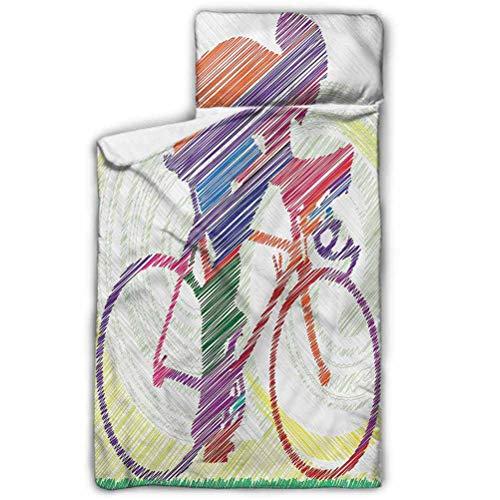 Ahuimin - Alfombrilla para siesta, moderna, para hombre en bicicleta, saco de dormir infantil de 43 x 53 cm, con almohada extraíble para preescolar, guardería y fiestas de pijamas.