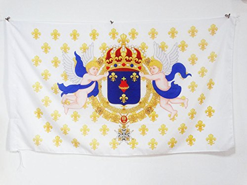 AZ FLAG Drapeau Royaume de France Cœur de Jésus 90x60cm - Drapeau royaliste Ancien Régime Sacré Cœur - Roi 60 x 90 cm Fourreau pour hampe