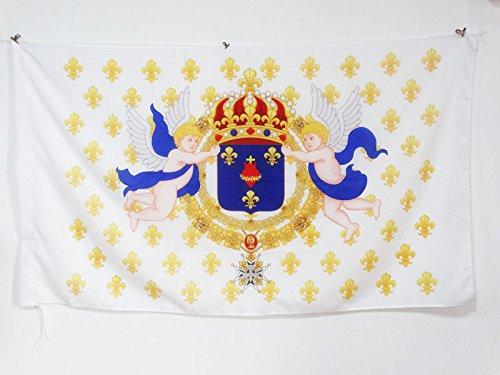 AZ FLAG Flagge KÖNIGREICH Frankreich HEILIGSTES Herz JESU 90x60cm - KÖNIGREICH DER Franzosen Fahne 60 x 90 cm Scheide für Mast - flaggen Top Qualität