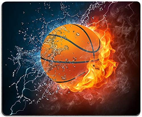 Gaming Mouse Pad,Basketball Ball in fire and Water Mouse Pad Non-Slip Rubber Base Mouse Pads for Computers Laptop Office, 9.5'x7.9'x0.12' Inch(James,240mm x 200mm x 3mm)