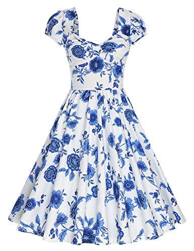 MUXXN Women's Retro Knee Length Picnic Party Dress (Blue & White S)