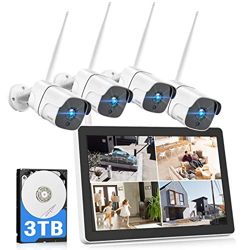 TOGUARD 1080P Kit Cámaras de Vigilancia Inalámbrica con 12' LCD Monitor 3TB HDD, NVR de 8CH 4X Cámara de Vigilancia al Aire Libre WiFi con Visión nocturna, Detección de Movimiento, Alerta de Email