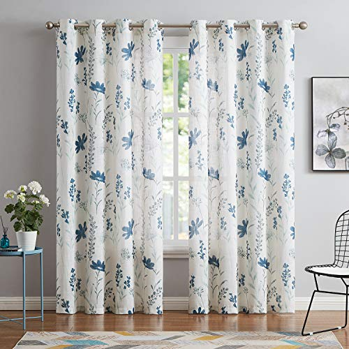 Printed Sheer Curtains Linen Textured for Living Room Floral Leaf Design Farmhouse Style Window Panel Drapes Set Grommet Treatment for Bedroom, Dining, 52 x 84 inch, Navy Blue