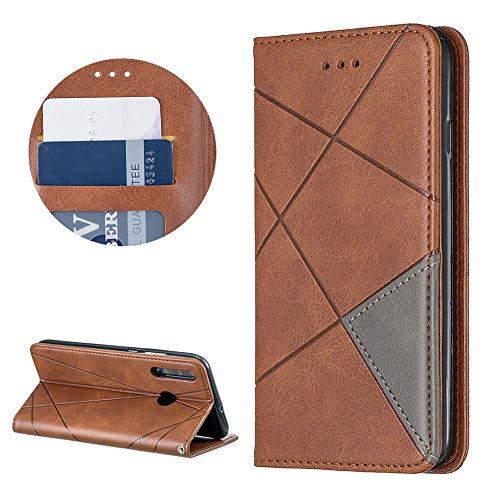 DasKAn Geometrisch Muster Brieftasche Leder Hülle für Huawei P Smart Plus 2019/Honor 10i, Klappbar Magnetisch Klapphülle Komplett Schutz Handy Tasche mit Kartenfach Standfunktion Schutzhülle,Braun
