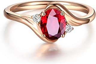 Luxury Simulated Ruby Ring Chic 18K Rose Gold Plating Adjustable Open Ring Vintage Women Wedding Engagement Ring Birthston...
