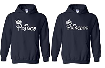 Blue Tees Prince&Princess Crown White Matching Couples Couple Unisex Hoodie