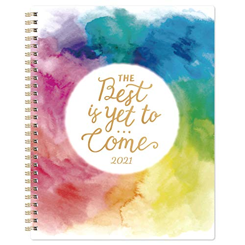2021 Planner - Weekly & Monthly Planner with Twin-Wire Binding, 8' x 10', Jan. - Dec. 2021, Thick Paper with Marked Tabs + to-Do List + Info Page + Holidays - Watercolor Ink