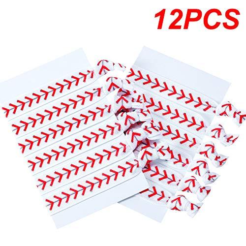12 Paquets Accessoires de Cheveux, Hair Ties de Filles Élastiques de Cheveux sans Plis pour Joueur et Équipes (Accessoires de Cheveux de Base-Ball)