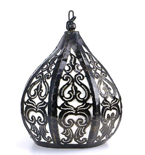 Sospensione/lampadario marocchino in ferro battuto e tessuto stile orientale etnica