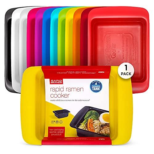 Rapid Ramen Cooker - Microwave Ramen in 3 Minutes - BPA Free and Dishwasher Safe - Yellow