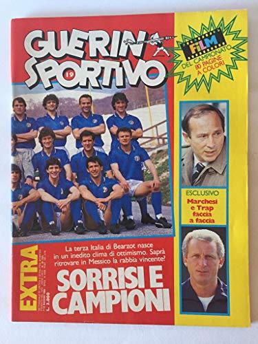 Guerin Sportivo 1986 n 19 (590) LXXIV - SORRISI E Campioni - BEARZOT - MARCHESI E Trap Faccia A Faccia - Il Film del Campionato - Poster Fiorentina 1985-1986