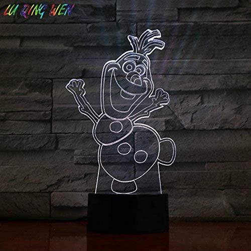 Dalovy Festival 3D Lámpara de Ilusión Luz de Noche Led Fancy Baby Snowman Olaf para Niños Decoración de Dormitorio Atmósfera con Pilas Lámpara de Mesa Bonita Regalos para Niños