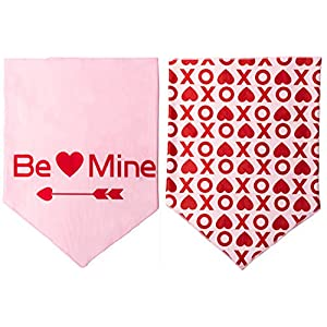 BoomBone Valentines Day Dog Bandana 2 Pack Triangle Bibs Scarf for Small to Large Dogs