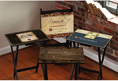 Max 57% OFF Cape Craftsment Rustic Wine TV Trays Stand Set Fresno Mall with 4 of