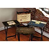 Cape Craftsment Rustic Wine TV Trays with Stand, Set of 4