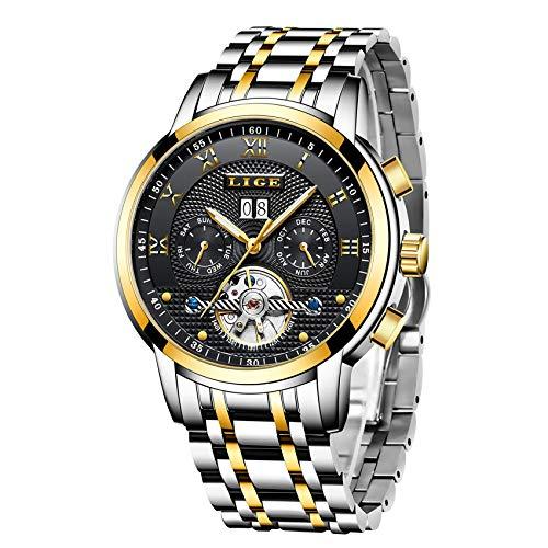 LIGE Relojes Hombre Moda Mecánico Automático Reloj Lujoso Comercio Acero Inoxidable Impermeables Militar Deportivo Luminoso Casual Relojes