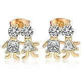 YAZILIND 18 k chapado en oro mujer joyas exquisitas rhinestone amor pareja forma pendiente Stud