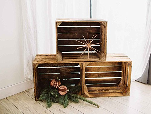 Geflammte Holzkisten im Set-Angebot: Originale, Vintage Obstkisten Apfelkisten aus dem Alten Land zum Möbelbau oder Dekoration mit den Maßen 50 x 40 x 30cm (3er Set) - 3