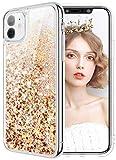 wlooo Cover iPhone 11, Cover iPhone 11 Brillantini, Glitter Bling Liquido Custodia Sparkly Ragazze Donne Luccichio TPU Silicone Protettivo Morbido Brillantini Quicksand Case (Oro Argento)