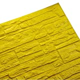 WANWEITONG 3D Papel Pintado ladrillo, PE de Espuma de 3D Wallpaper, DIY Pared Pegatinas Decoración de Pared en Relieve Piedra de ladrillo Para Casa Oficina (1 Pc, Amarillo)