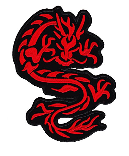 Parche Dragón Rojo - 22 cm X 15 cm XL Tamaño Grande - Red Dragon Parche para Ropa Parches Bordados Parche Termoadhesivo Aplicación Apliques Mochila Bolso Jeans Chaqueta Sombrero - Treasure-Quest