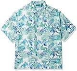 Cubavera Men's Big and Tall Big & Tall Geometric Palm Print Shirt, Bright White, 2X Large