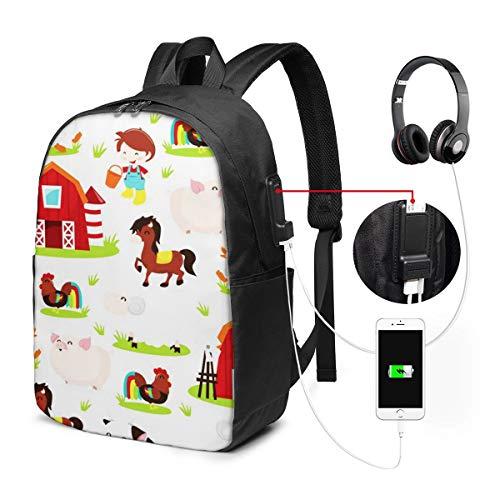 WEQDUJG Mochila Portatil 17 Pulgadas Mochila Hombre Mujer con Puerto USB, Feliz Corral Animal De Granja Mochila para El Laptop para Ordenador del Trabajo Viaje