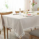 AMZALI Stripe Tassel Tablecloth Cotton Linen Table Cloth Stain Resistant Dust-Proof Table Cover for Kitchen Dinning Tabletop Home Decoration (Rectangle/Oblong,55 x 87 Inch, Beige)