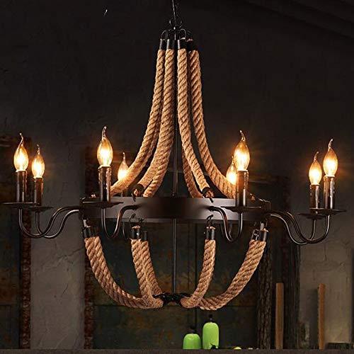 Retro Hanfseil Pendelleuchte Loft Rustikale Deckenleuchte Industrie Vintage Esstisch Kronleuchter Küche Wohnzimmer E14 Hängeleuchten (Size : 8 Lamps)