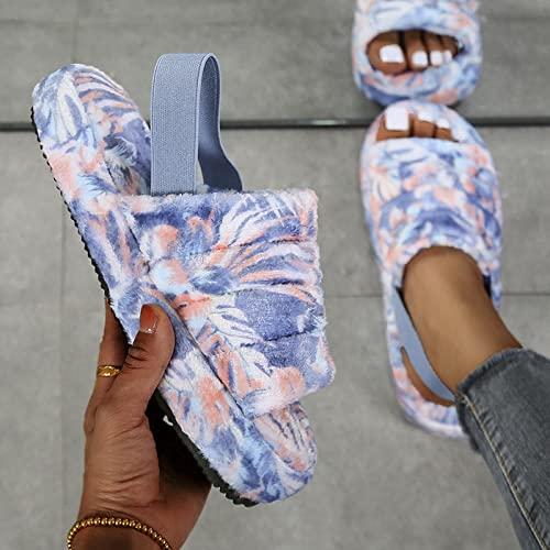 MQQM Caliente Suave Antideslizante Slippers,Zapatillas Planas cálidas, Zapatillas de Felpa Antideslizantes para Parejas-Azul_38,Zapatillas de Invierno Antideslizantes