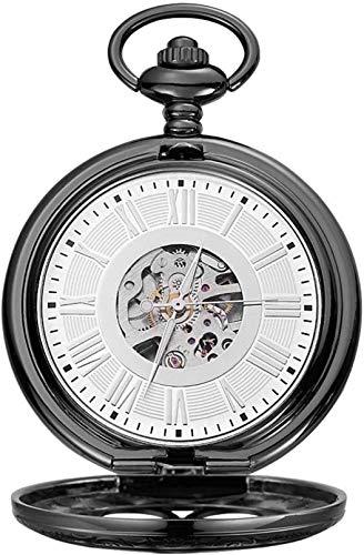 PJPPJH Reloj de Bolsillo Roman Carved Hollow Classic Machinery Black Clamshell Reloj de Bolsillo mecánico Adecuado para Ocasiones Informales y de Negocios (Color: Negro, Tamaño: 4.7x1.5cm)
