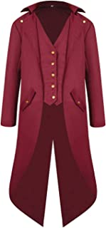 Onancehim Boys Steampunk Tailcaot Halloween Costume, Kids Medieval Victorian Jacket Gothic Warlock Vampire Coat
