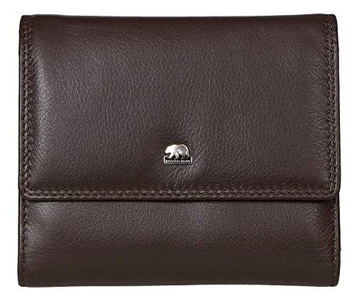 Brown Bear Geldbörse Damen Leder Braun groß viele Fächer RFID Schutz Echtleder Portemonnaie hochwertig mit Überschlag Doppelnaht und Reißverschluss-Fach Frauen Geldbeutel Portmonee BB Golf 1008 Mbr