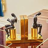 LGYKUMEG Metal, Decorativos Bookends, Creative Sookends Figuras Desktop Golden Bookstore Decorativo Libro Estante Holder Hombre y Mujer Reading Resin Bookend,Oro,12.5 * 22.5cm