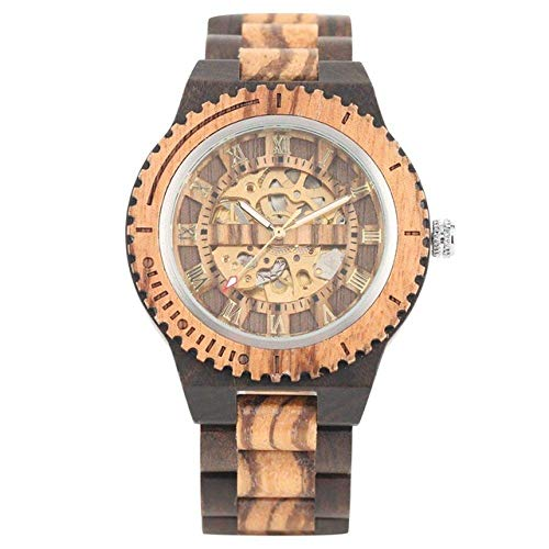 DZNOY Holzuhr Retro Holzuhr Royal Gold Roman Literal Mechanische Uhren Herren Holz Armreif Uhr Taschenuhr (Farbe: Ebenholz)