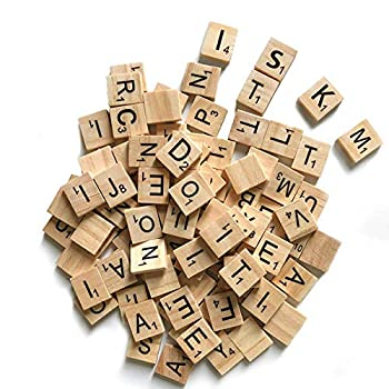 100 Pcs Wood Scrabble Tiles Scrabble Letters 1 Complete Sets of Wood Tiles - Perfect for Crafts Letter Tiles Spelling by Clever Delights…