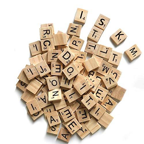 ISKM Clever Delights Buchstaben-Fliesen, 1 komplettes Set von Holzfliesen, perfekt für Bastelarbeiten, Buchstabenfliesen, Rechtschreibung, 100 Stück