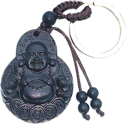 Betterdecor Feng Shui Wood Carved Chinese Happy Buddha Money Buddha Key Ring Amulet (with a Pouch)