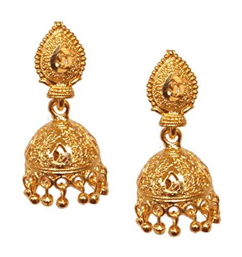 Pahal - Pendientes para mujer, chapados en oro, diseño de bollywood de la India del sur