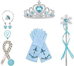 WENTS Eisprinzessin Set 8 Stück ELSA Prinzessin Kostüme Zubehör Mädchen Verkleidung Set Krone Haarreifen Zopf Ring Ohrring...