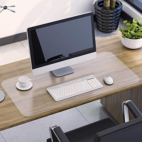 HAPFIY Sottomano da Scrivania Trasparente in PVC, 800x400x1.5mm Grande Tappetino da scrivania, Copertura per Tavolo Antiscivolo Impermeabile, protezione per tavolo da scrivania per ufficio e casa