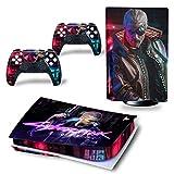 YQDHB Ps5 Controller Skin Cyberpunk 2077 Marvel Galaxy Controlador Antideslizante Impresión Skin Sticker Cubierta Protectora Ps5 Disc,10