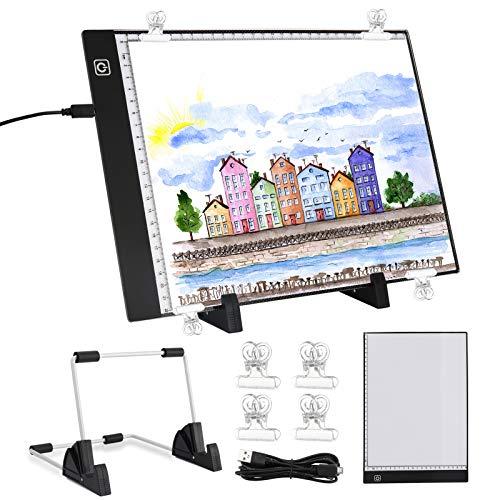 Gobesty Tablero de luz LED A4, portátil, con brillo ajustable, caja de luz con cable USB para diseñar, copiar, dibujar, dibujar, animación