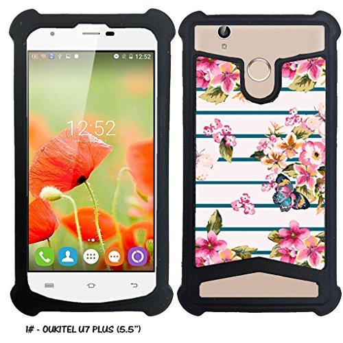 Case-Industry Mobilefashion Custodia Protettiva Case Cover per Oukitel u7 Plus - Esterno Modello Sailor Floreale con Farfalla Collection Pattern Cuoio PU