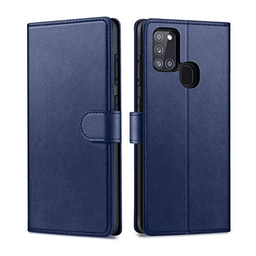 Focusor kompatibel mit Samsung Galaxy A21S Hülle, Samsung A21S Hülle, Handyhülle Samsung A21S Leder Flip Hülle Ständer PU Brieftasche Schutzhülle für Samsung A21S Cover, Blau