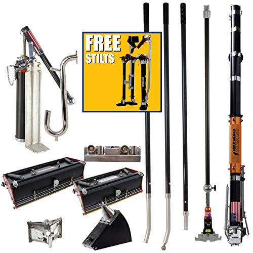 """Drywall Master Professional Taping and Finishing Tool Set Plus FREE 24-40"""" Renegade Drywall Stilts - King Taper, 10"""" & 12"""" Flat Boxes, Angle Box, Angle Head, Corner Roller, Pump & Handles"""